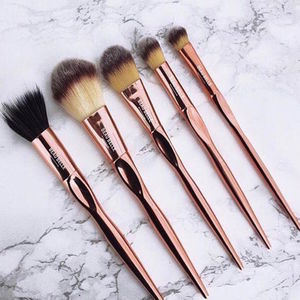 Five Pc Rose Gold Makeup Brush Set - gifts for her