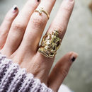 Oversize Solid Brass Ganesha Elephant Ring