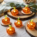 Set Of Six Mini Glass Illuminated Pumpkins