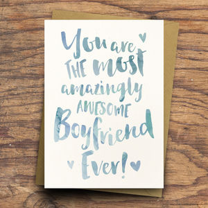 'Amazingly Awesome Boyfriend / Fiancé' Greeting Card - winter sale
