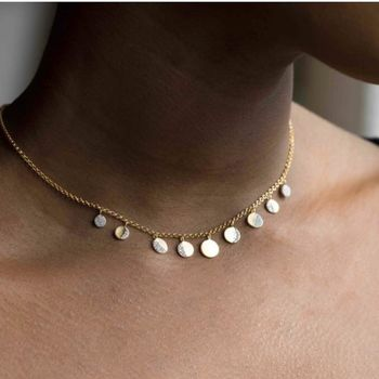 14k Gold Vermeil Moon Phases Necklace In Diamond