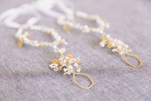 Gold And Pearl Foliage Barefoot Sandals - bridal shoes