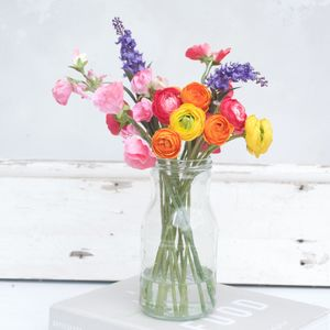 Summer Faux Flower Bouquet Of Ranunculus And Sweet Peas - room decorations