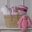 Personalised New Baby Gift Basket With Bunny Toy
