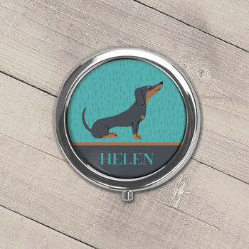 Personalised Dachshund Pill Box Black Or Tan