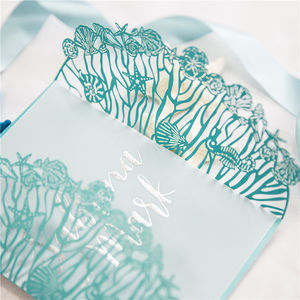 Mermaid Style Laser Cut Gatefold Opening Invitation - shoreline wedding trend