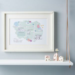 Personalised First Walk To School Illustrated Map
