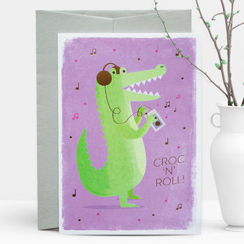 Croc 'N' Roll Gold Foil Greeting Card