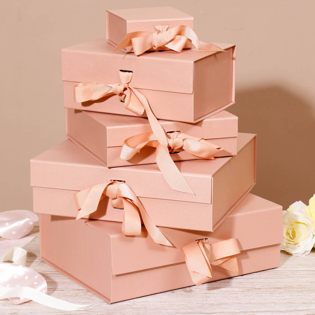 Luxury rose gold gift box with ribbon tie selection by dibor luxury rose gold gift box with ribbon tie selection negle Choice Image