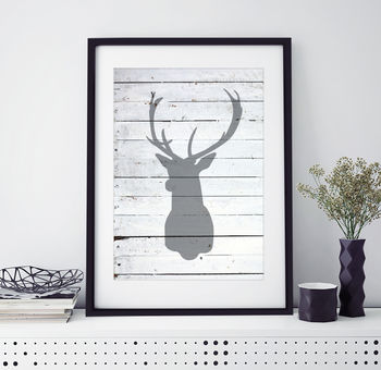 Stag Head Silhouette Print
