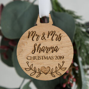 Personalised Christmas Couples Bauble Decoration