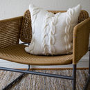 White Chunky Cable Knit Cushion