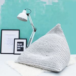 Hand Knitted Pearl Wedge Bean Bag - cushions