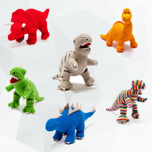 Knitted Baby Dinosaur Rattle - stocking fillers