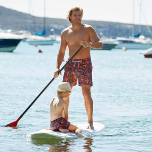 Father And Son Matching Orange Octopus Swim Shorts - gifts for fathers