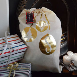 Personalised Christmas Initial Metallic Santa Sack