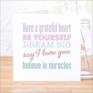 'Believe In Miracles' Contemporary Quote Card