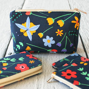 Pop Floral Print Make Up Bag - make-up & wash bags