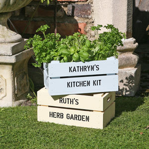 Personalised Crate With Herb Seeds - pots & planters