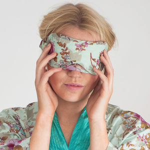 Ladies Sleep Mask In Blue Rose Print