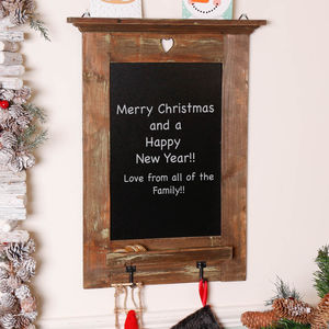 Reclaimed Wooden Chalkboard With Hooks - storage & organising