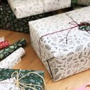 Festive Greenery White Wrapping Paper