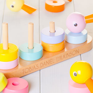 Childrens Personalised Wooden Stacking Ducks - gifts for babies