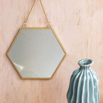 Gold Hexagon Mirror With Chain