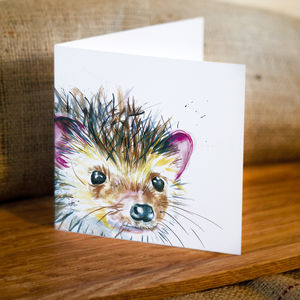 Inky Hedgehog Blank Greetings Card
