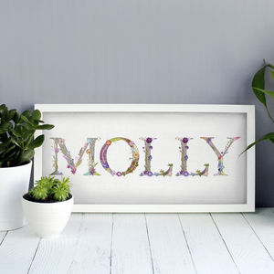 Personalised Name Print In Botanical Lettering - typography
