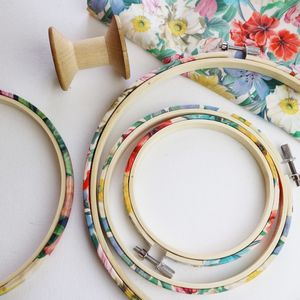 Floral Embroidery Hoop Frame. Liberty Print - sewing & knitting