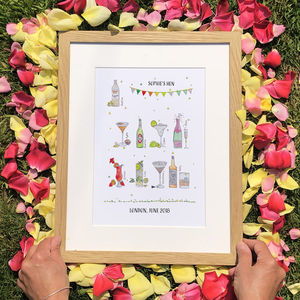 Hen Party Favourite Drinks Personalised Print