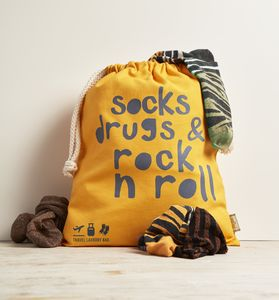 Travel Laundry Bag In Premium Canvas 'Socks, Drugs…' - laundry bags & baskets