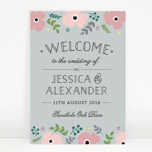 Pink Poppy Wedding Welcome Sign