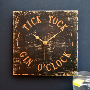Gin O'clock Engraved Slate Clock - living room