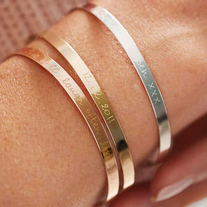 Personalised Flat Bangle - rose gold jewellery