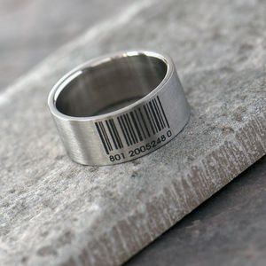 Bar Code Men's Stainless Steel Band Ring
