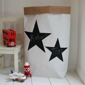 Paper Storage Sack With Chalk Board Stars - children's room accessories