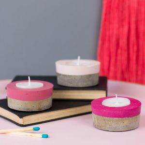 Set Of Three Colour Block Concrete Tea Light Holders - candles & home fragrance