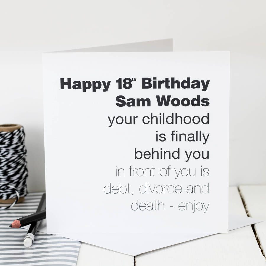 18th birthday card childhood is behind you by coulson macleod – Funny 18th Birthday Card