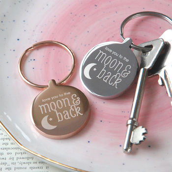 Rose gold plated moon and back keyring option