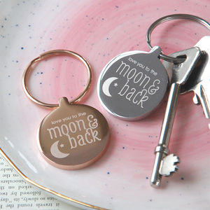 Personalised 'Moon And Back' Keyring - stocking fillers