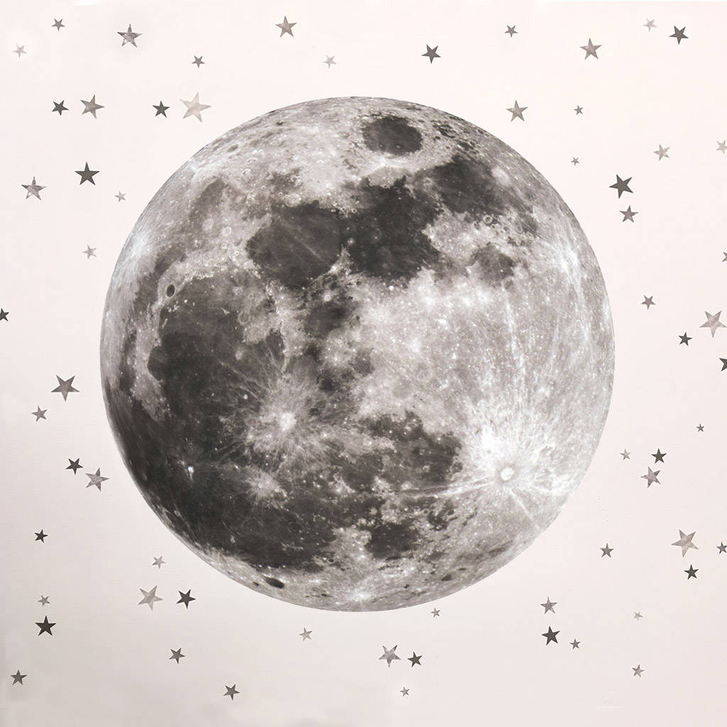 Moon and stars fabric wall sticker by koko kids for Moon and stars fabric