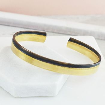 Two Tone Finish Brass Skinny Cuff Bangle