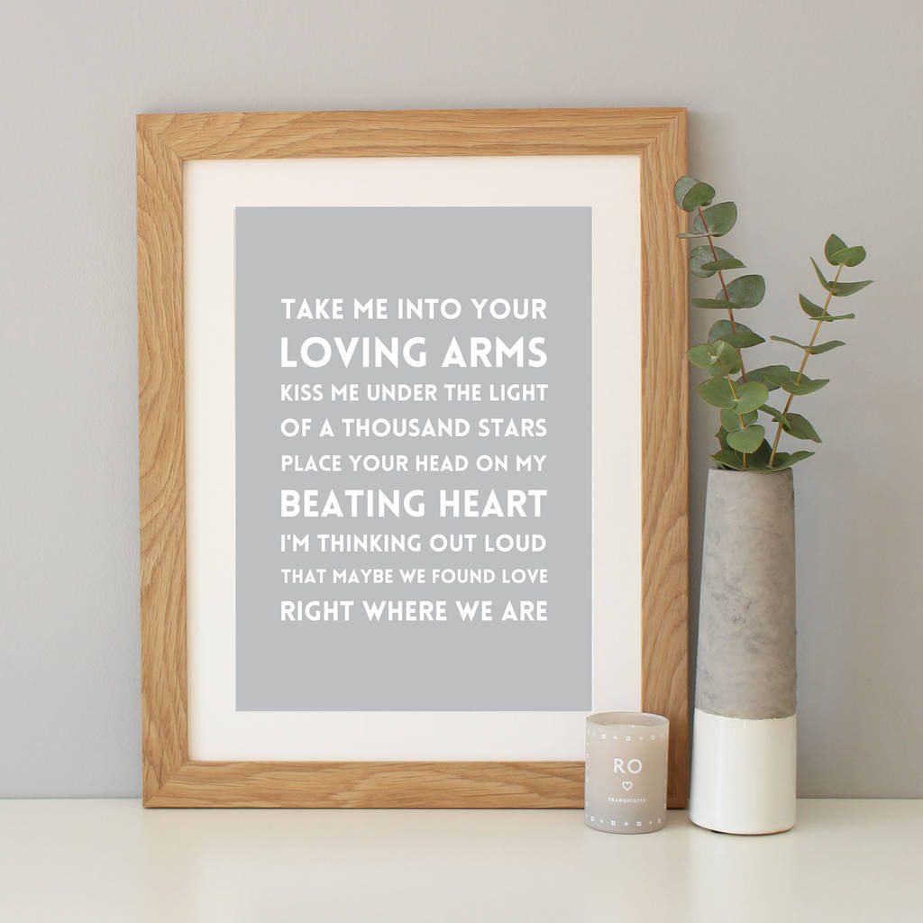 Personalised song lyrics print by hope and love light grey background with oak frame jeuxipadfo Gallery