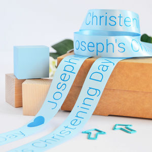 Christening 25mm Personalised Printed Ribbon - christening gifts