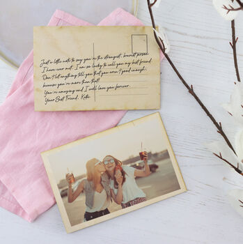 Personalised 'Just Because' Wooden Photo Postcard