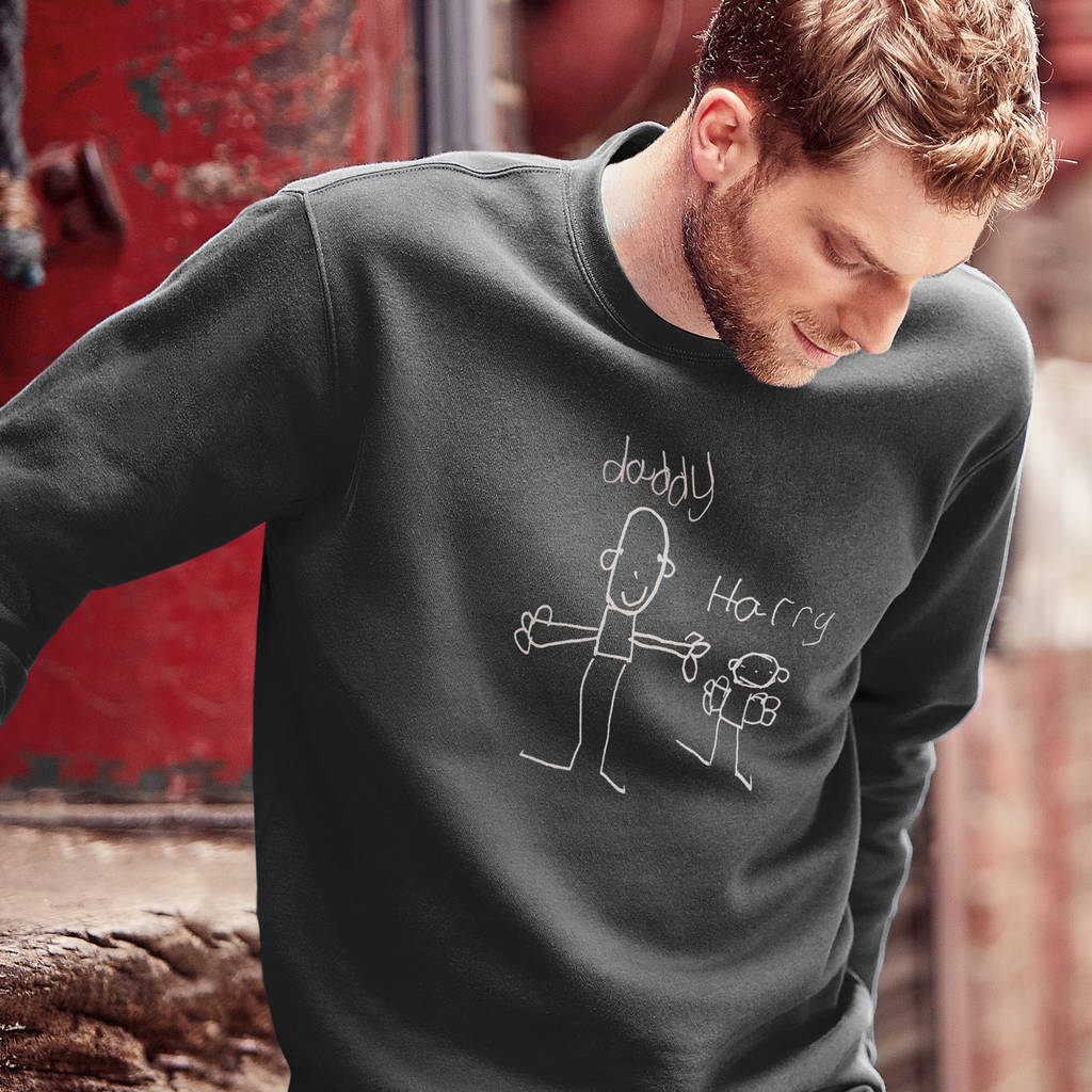 Dad's Sweatshirt With Child's Drawing