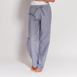 Women's Pyjama Trousers Ash Grey Herringbone Flannel - women's fashion