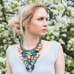 Dramatic Encrusted Crystal Statement Necklace